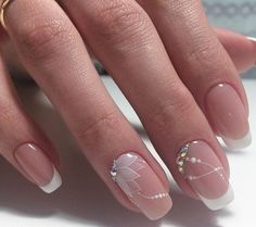 This would be very nice for a nail art wedding french manicure # . - This would be very nice for a nail art wedding French manicure … # French - Beautiful Nail Art, Gorgeous Nails, Elegant Nail Art, Cute Nails, Pretty Nails, Pink Nails, Gel Nails, Nail Polish, Glitter Nails