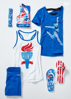 Styled for top performance. Shop our red, white & blue shorts, tanks, tees & accessories!