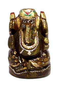 "(sku no:god ganesha stone statue_716) Indian Hindu God Ganesha Elephant God Tiger Eye Stone Statue Sculpture 2.5"".please visit.www.krishnamarthindia.com"