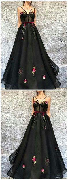 Black A-line Long Prom Dress,Elegant Evening Dress