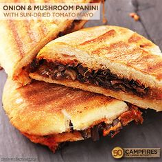 Vegan Onion and Mushroom Panini - plus 10 Easy Vegan Recipes for Camping! http://50campfires.com/10-easy-vegan-recipes-camping/ #camping #recipes vegan