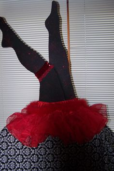 Cut's  out legs add little girl's red tutu or red slip for Moulin Rouge Parisian French party theme
