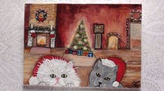 ACEO Original Painting Cats at Christmas House CANDIOMART (2.5x3.5in.)#103 mini #Miniature