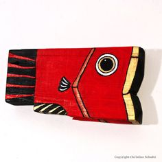Reclaimed Wood Fish Decor Painted Red and Gold by TaylorArts