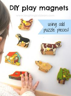DIY magnets using odd puzzle pieces. Easy to make and fun for all ages.