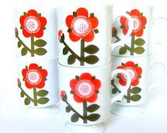 Mod Flower Pedestal Mugs, 6 Vintage 1960s China Cups