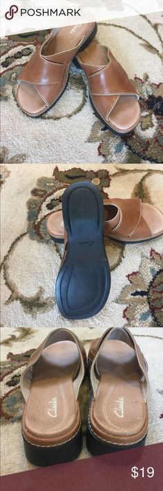 Ladies Clarks leather mule style sandals Ladies size 7.5w slip on sandals from Clarks - never worn!!  Distressed saddle leather is perfect with denim and white for the summer! Clarks Shoes Sandals