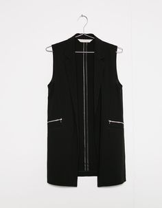 Long vest with zipper and pockets - Jackets - Bershka Malaysia