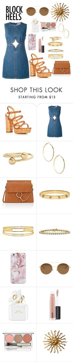 """""""SUNSHINE GOLD"""" by annafitzgerald ❤ liked on Polyvore featuring MICHAEL Michael Kors, Courrèges, J.W. Anderson, GUESS by Marciano, Chloé, Tory Burch, Gorjana, Mykita, Marc Jacobs and MAC Cosmetics"""