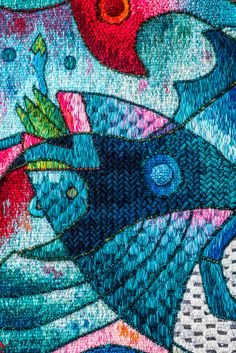 """Fruto abundante del mar I"" 120 x 120 cm. Detail. Hand Woven Tapestry, Peruvian Tapestry by Máximo Laura. Alpaca, cotton and mixed fibers. #Art #TapestryArt #Peru #WeavingTapestry #PerúTextiles"