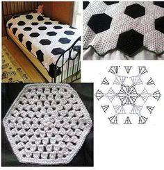 Sobrecama blanco y negro crochet