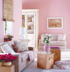 Pink comfortable living room design with flower theme