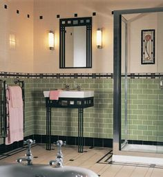 Mackintosh Bath    The Glasgow Rose set is a tribute to the ca. 1900 designs of Charles Rennie Mackintosh. Companion tiles include field tile in colonial white, palm-green half tiles, and Sigma and Skirting tiles in jet black.