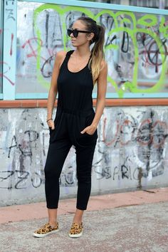 total black and leopard #ootd #outfit