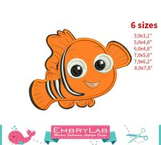 Applique Nemo Fish. Finding Dory. Machine Embroidery by EmbryLab