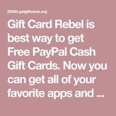 Gift Card Rebel is best way to get Free PayPal Cash Gift Cards. Now you can get all of your favorite apps and games for free. Cash Gift Card, Sell Gift Cards, Free Gift Cards, Free Mcdonalds, Google Play Codes, Free Gift Card Generator, Play Hacks, Free Games, Rebel
