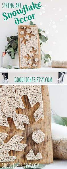 Modern snowflake silhouette minimalist string art winter wall décor for living or dining room, nursery or any other space, great gift for birthday Thanksgiving or Christmas.