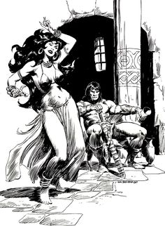 Diversions of the Groovy Kind: Black and White Wednesday: Can't Get Enough John Buscema Conan: Red Sonja, Comic Book Artists, Comic Artist, Comic Books Art, Comics Vintage, Vintage Comic Books, Conan Comics, Bd Comics, Comics Girls