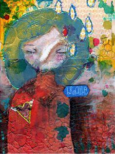«Breathe» a Nixie original 6x8 Mixed Media Painting by Nolwenn Petitbois, $59.00