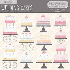 Wedding celebration cakes, hand drawn vector graphics, royalty free, commercial use.