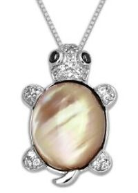 "This is XPY Sterling Silver White Quartz Turtle Pendant Necklace, 18""...   (You can save $108- in Christmas).  US$71-"