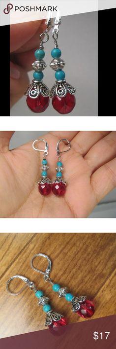 Silver Plated Turquoise Czech Tibetan Earrings Handmade Silver Plated Turquoise-Red Czech Glass Drop Dangle Tibetan Earrings Lever Backs Jewelry Earrings
