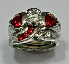 Platinum wedding-set with Anthill Garnets and Diamonds - larger view