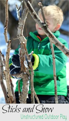Unstructured outdoor play with sticks and snow. Free play in nature is so important to children's development! Forest School Activities, Outside Activities, Gross Motor Activities, Outdoor Activities For Kids, Nature Activities, Outdoor Learning, Interactive Activities, Creative Activities, Winter Activities