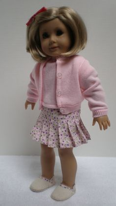 SWEATER SKIRT ESPADRILLE Set fits American Girl 18 by dollupmydoll, $28.00