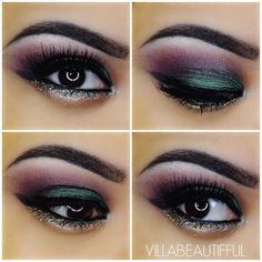 Love the color combination of this look. Finally a day where I like my makeup! This would be a great look to wear for the upcoming holidays! Here's how to achieve this look: 1. Prime lid with @NYX Cosmetics Jumbo Eye Pencil in Sparkle Green.  This is how I