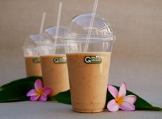 Smoothie cups made from annually renewable raw materials and compostable. They'll last for as long as they are needed and then turn into food for the plants.