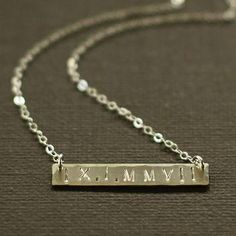 Wedding anniversary gift idea: Roman Numeral Wedding Date Necklace from Etsy seller NinaKuna