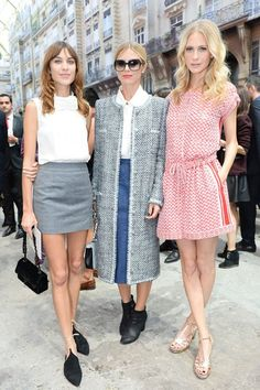 Alexa Chung, Laura Bailey and Poppy Delevingne.. All dressed in Chanel.. PFW..