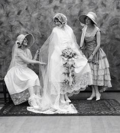 Days Gone By - Later 1920's bride and bridesmaids.