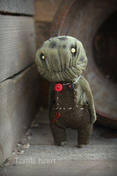 RESERVED Zombie little monster stuffed art doll khaki creature
