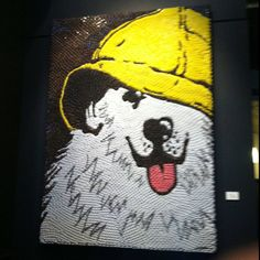 Sea Dog mosaic from the Portland, ME restaurant. Made with bottle caps.