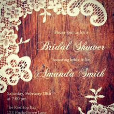 bridal shower invitation rustic country lace