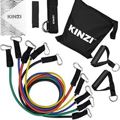 Buy Kinzi Resistance Band Set with Door Anchor, Ankle Strap, Exercise Chart & Resistance Band Carrying Case at Discounted Prices ✓ FREE DELIVERY possible on eligible purchases. Resistance Band Training, Resistance Loop Bands, Gym Equipment Names, Stretch Band, Shredded Body, 6 Pack Abs, Workout Guide, Workout Challenge, Workout Machines