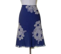 Ann Taylor Periwinkle Blue White Floral Silk Lined Skirt Size 16 NWT #AnnTaylor #Straight