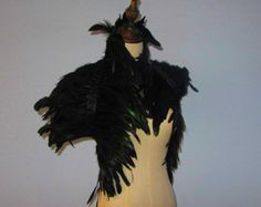 Burlesque Black feathers SHAWL Shrug Shoulders by weddingfeather