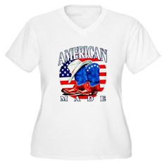 Superb Artsmith, Inc. Women's Plus V-Neck T-Shirt American Made Country Cowboy Boots and Hat