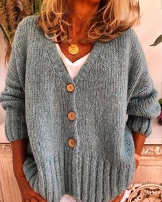 Women Casual Plus Size Sweater Cardigan Plus Size Sweaters, Casual Sweaters, Plus Size Casual, Fashion Moda, Types Of Sleeves, Sweater Cardigan, Lingerie, Knitting, Clothes