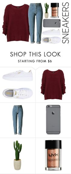 """White Sneaky Sneaks"" by ali-sxn ❤ liked on Polyvore featuring Puma, Threshold, NYX, cute, contest, tumblr and whitesneakers"