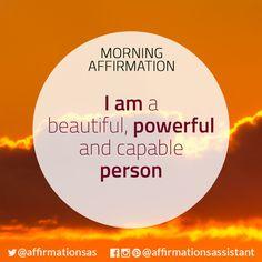"Affirmation:  ""I am a beautiful, powerful and capable person""  #successtrain #joytrain #ThriveTOGETHER #abundance #positive #lawofattraction #affirmation #affirmations #positiveaffirmations #positiveaffirmation #success #happiness #motivation #motivational #abundant"