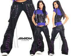 Suit Fashion, Girl Fashion, Fashion Outfits, Gothic Fashion, Unique Fashion, Rave Clothing Store, Vetement Hip Hop, Rave Pants, Gothic Outfits