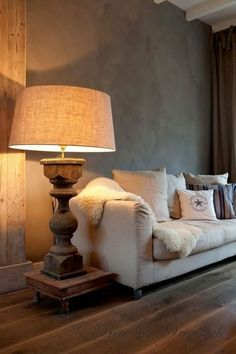 cosy couch with oversized lamp & shade