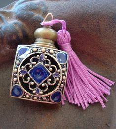 Vintage amethyst rhinestones perfume bottle pendant