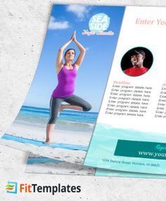 Beach yoga instructor flyer template from FitTemplates.com