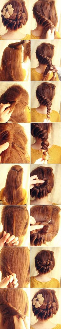 twisted updo1 | Top 10 Messy Braided Hairstyle Tutorials to Be Stylish This Fall  http://www.jexshop.com/