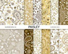 Paisley Digital paper pack brown scrapbook by ValerianeDigital  https://www.etsy.com/listing/154519457/paisley-digital-paper-pack-brown?ref=shop_home_active_5